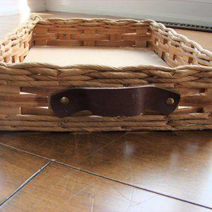 Vintage Pyrex Wicker Rattan Casserole Serving Tray